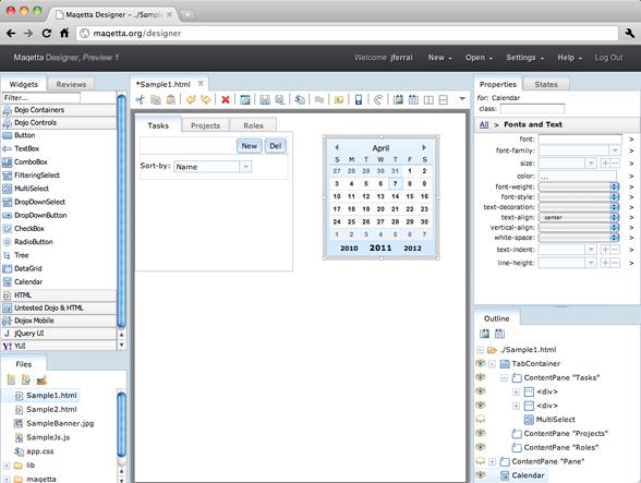 HTML5可视化设计工具 Maqetta